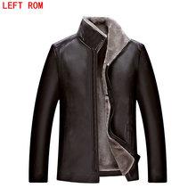 sheepskin coat men Imitation leather jacket park High quality Raccoon fur collar bomber leather jacket large
