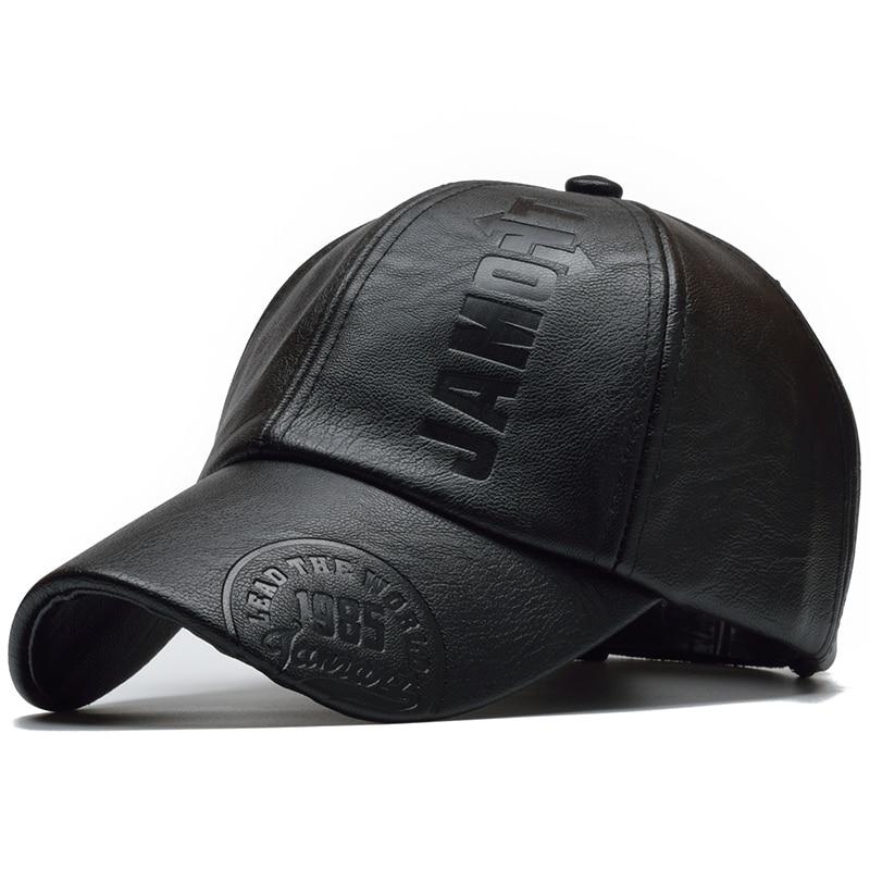 [NORTHWOOD] New High Quality Winter Cap PU Leather Baseball Cap Men Snapback Hat Casquette Gorras Para Hombre Mens Trucker Cap 1