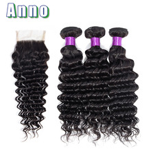 hot deal buy anno peruvian hair deep weave bundles with closure non remy human hair 3 bundles with closure deep wave bundles with closure