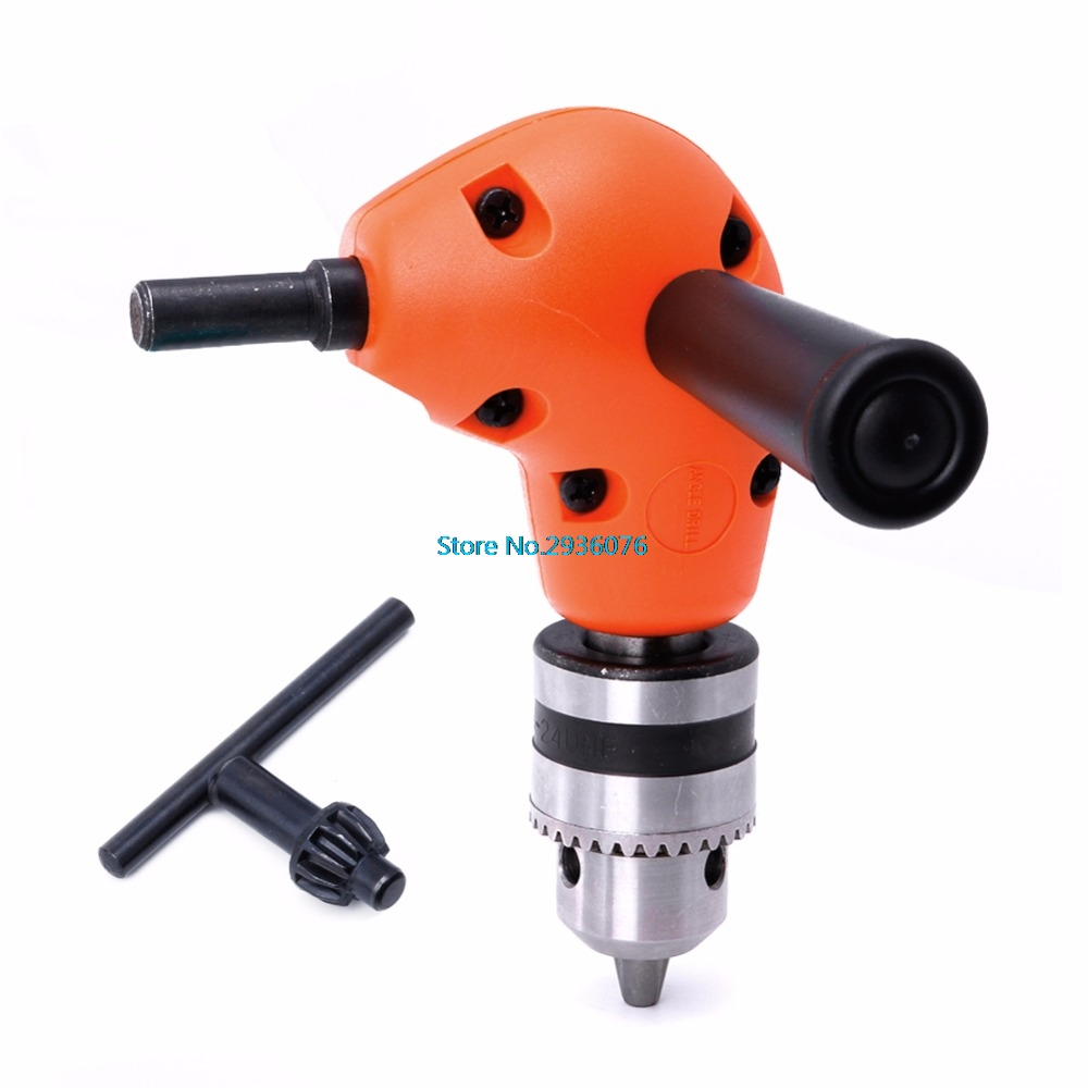 3/8 Grip Right Angle 90 Degree Drill Attachment Handle Key Chuck Adapter MAR16_0 a577 handle grip set attachment electric grinder grip cover for drill new