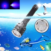 Underwater 100M 30W 395nm 5x XPE LED UV Lamp Scuba Diving Flashlight Torch 18650