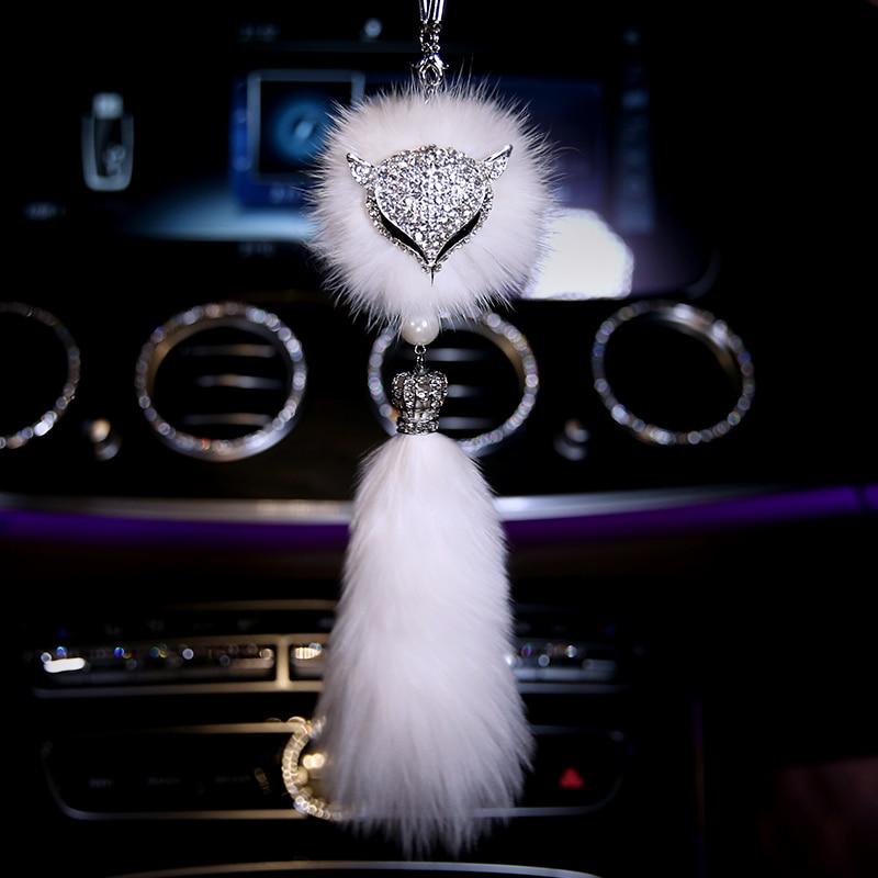 Fashion-Car-Decoration-Rearview-Mirror-Interior-Hanging-Pendant-Diamond-Crystal-Fox-fur-Ornaments-Car-Styling-1