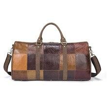 Hot sale Genuine Leather male Bags Vintage Travel  handbag bag Designer Patchwork pattern Large Duffle Bags Men baggage big Bag