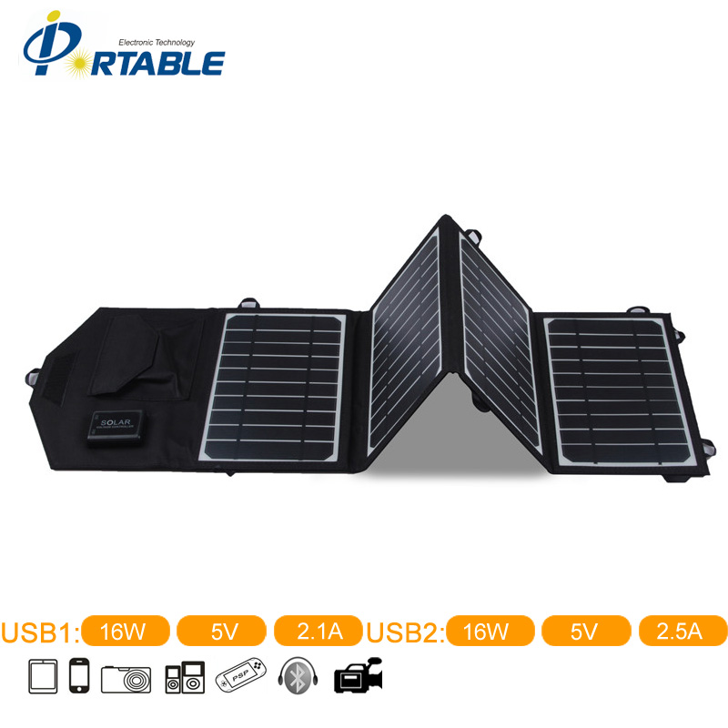 Newst Waterproof Universal Solar Charger 16W Folding Solar Panel In Black Color External Power Bank for Phone Travel Hiking