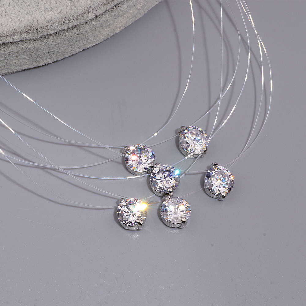 Sexy Transparen Invisible Line White Cubic Zircon Choker ყელსაბამი ქალებისთვის 2017 New Crystal Jewell Bijoux Super Shinning X174