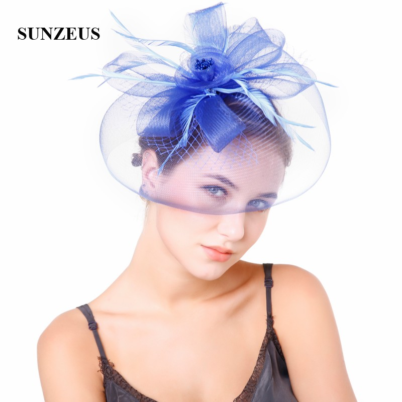 Big Tulle Flowers Elegant Bridal Wedding Hat With Feathers Women's Fascinator Blue Party Hats SH50
