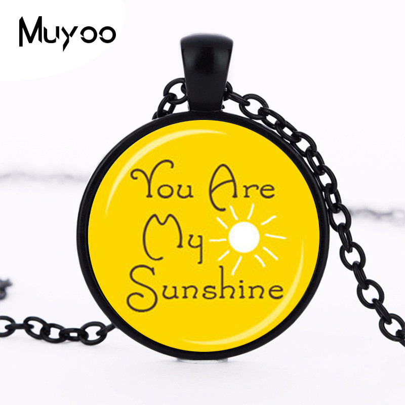 You Are My SUNSHINE PENDANT Sunshine Yellow and White Sunshine Necklace Happy Jewelry Quote Pendant Gift for Her HZ1