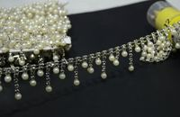 Factory Directly 5yards Lot Rhinestone Crystal Silver Pearl Chain Trims DIY Craft Sewing On Garment Accessories