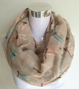 New Arrival Fashion animal print ring Scarf dragonfly ladies scarves Pashmina women scarves hot sale infinity scarf