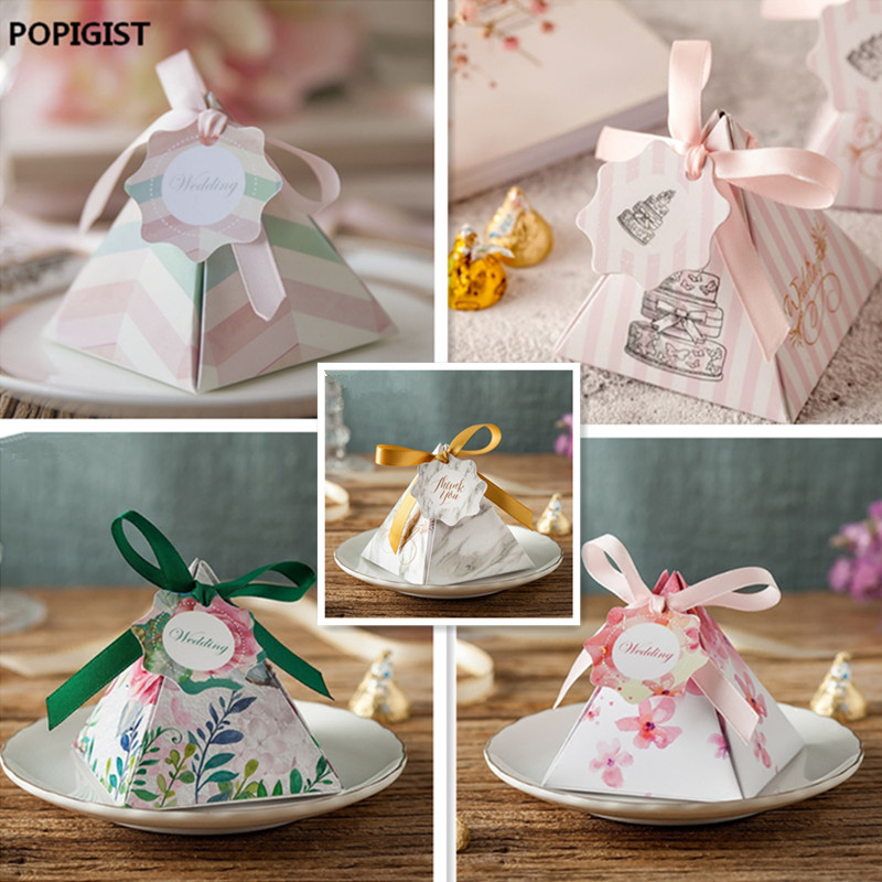 New Creative style leaves Pink Floral Triangular Pyramid Wedding Favors Candy Boxes Bomboniera Party Gift Box