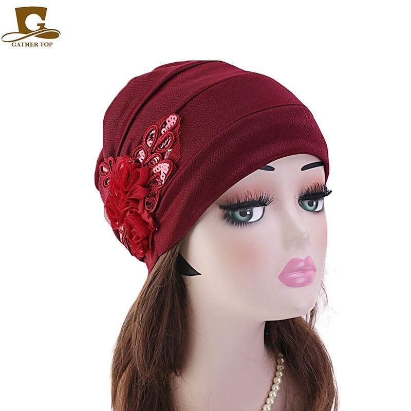 New Women Sequined Flower Chemo Beanie Cap Sleep Turban Hat Liner For Cancer Hair Loss Caps Bonnet