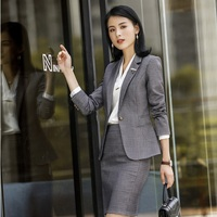 Ladies Office Uniform Designs 2018 New Styles Business Suits With Skirt and Tops Women Blazers Jackets Work Wear Sets Blazer