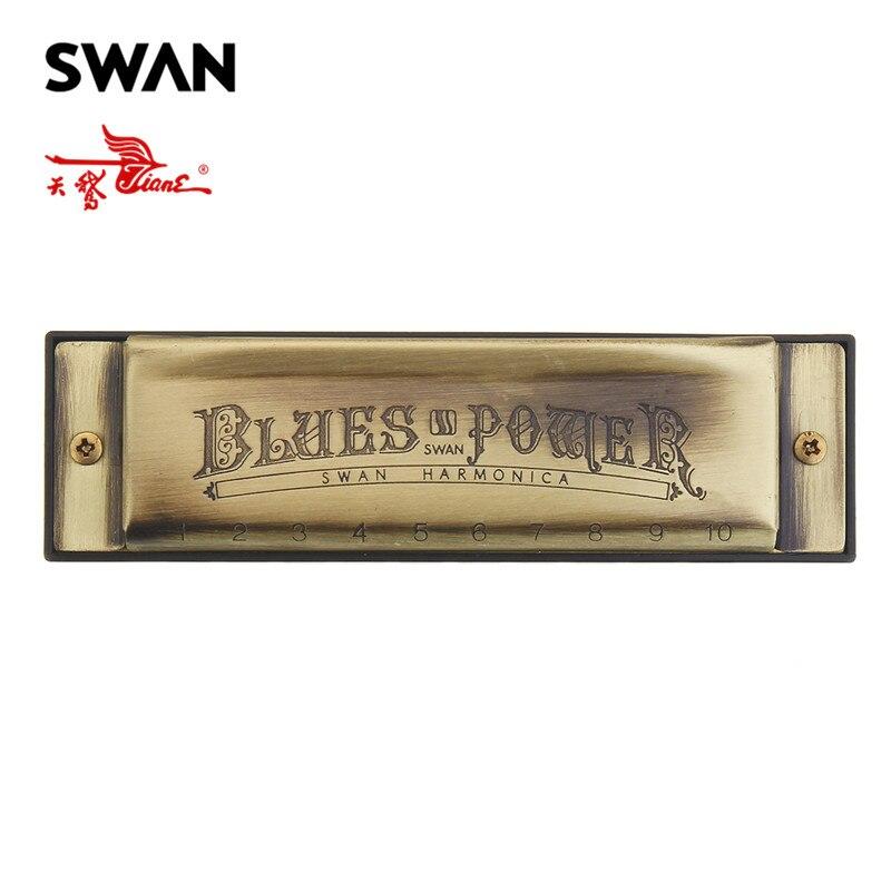 Swan 10 agujeros 20 tonos Blues C clave armónica de Color bronce instrumento Musical de viento órgano Swan armónicas arpas