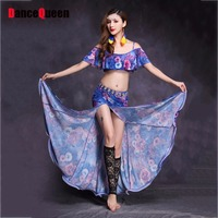 Professional Belly Dance Dresses For Ladies Novel Design Blue Color Flower Print Skirts Women Square Indian
