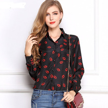 Casual Slim Brand Tops Women Blouses And Shirts Long Sleeve Women's Blouses Kiss Red Lip Print Casual Tops Loose Chiffon Shirt