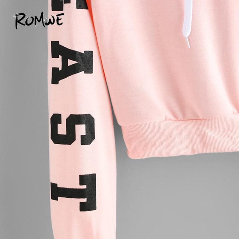 Women's Clothing Crop Top Hoodie Cropped Hoodies Drawstring Kawaii Women Letters Print Long Sleeve Hooded Sweatshirt 2018 Autumn Graphic