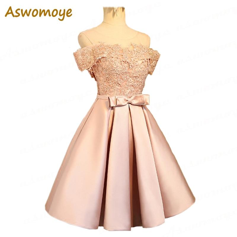 Aswomoye Elegant Short Evening Dress 2018 New Stylish Illusion O-Neck Wedding Party Dress Sleeveless With Bow Robe De Soiree