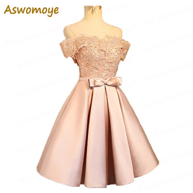 Aswomoye элегантное короткое вечернее платье 2018 Новое Стильное иллюзионное с круглым вырезом Свадебное платье без рукавов с бантом robe de soiree