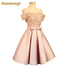 Aswomoye Elegant მოკლე საღამოს კაბა 2018 New Stylish Illusion O-Neck Wedding Party Dress Sleeveless with Bow robe de soiree