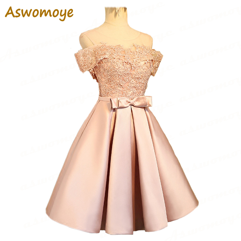 Aswomoye Elegant Short   Evening     Dress   2018 New Stylish Illusion O-Neck Wedding Party   Dress   Sleeveless with Bow robe de soiree