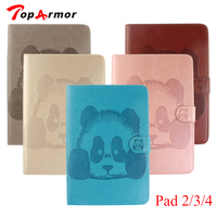 TopArmor 3D Embossing Panda Flip Cover With Cash Holder For Ipad 2 3 4 Case For