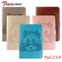 Toparmor 3d embossing panda lật bìa với người giữ tiền mặt cho ipad 2 3 4 case cho apple ipad 4 ví tiền của thẻ đứng mềm pu da
