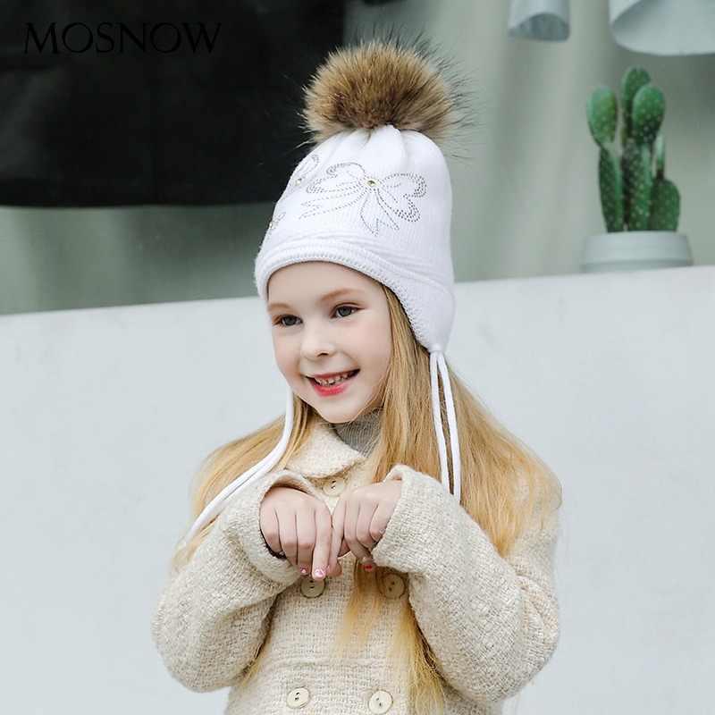 MOSNOW sombreros para niña niño Caps niños Fur Pompom Bowknot alta calidad  encantadora 2018 punto invierno 6638e70a8a1