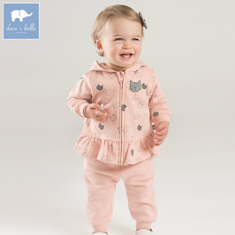 DBM7763 dave bella autumn infant toddler baby girls fashion hooded clothes kids long sleeve clothing sets children 2 pcs suitDBM7763 dave bella autumn infant toddler baby girls fashion hooded clothes kids long sleeve clothing sets children 2 pcs suit