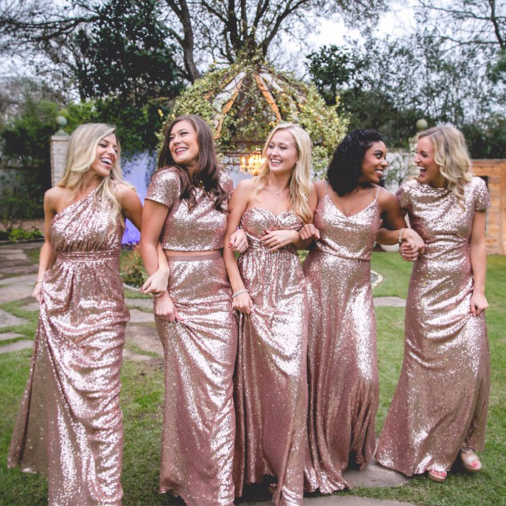 Woman Rose Gold Bridesmaid Dresses Long Sequined Abendkleid Robe
