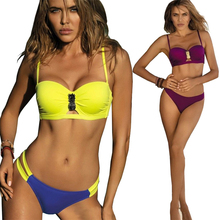 купить 2019 Sexy Bandage Bikini Swimwear Women Swimsuit Push Up Two Piece Split Low Waist Bikini Set Bathing Suit Beachwear Biquini New по цене 715.79 рублей