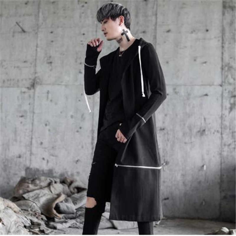 Мужская Уличная мода хип-хоп с капюшоном Тренч мужской в панк-стиле Повседневный длинный кардиган ветровка куртка
