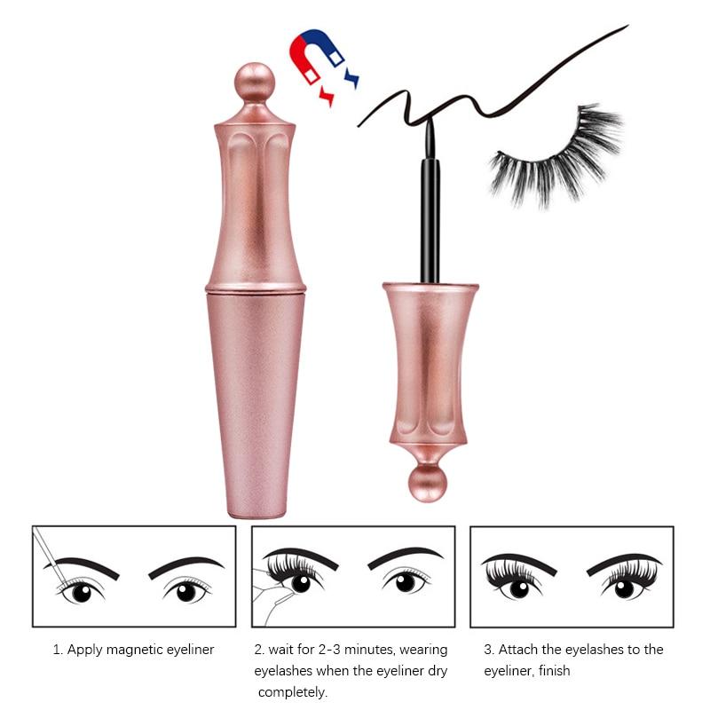 New Magnetic Liquid Eyeliner & 5 Magnet Magnetic False Eyelashes & Tweezer Set Waterproof Long Lasting Eyeliner False Eyelashes 1