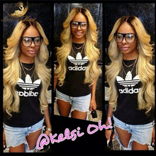 8A Full Lace Human Hair Wigs Blonde 1B613 Peruvian Virgin Hair Weave Gluless Lace Front Human Hair Wigs for Black/White Women