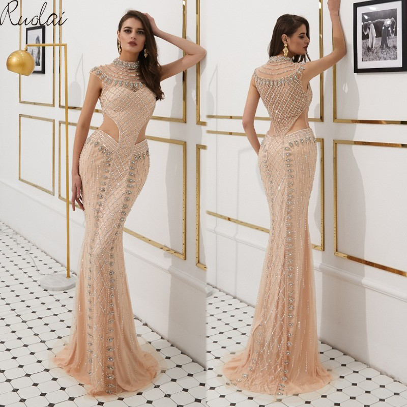 Mermaid Gown Luxury Evening Dresses Long 2019 Crystal Beads Evening Gowns For Women Evening Dress vestidos