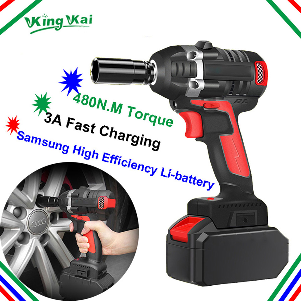 480NM Electric Cordless Lithium Battery Brushless Motor Impact Wrench-0 (6)