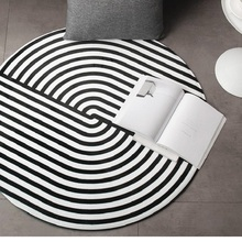 Creative geometry Round thick carpet Nordic home coffee table blanket Bedroom study chair round computer Printed