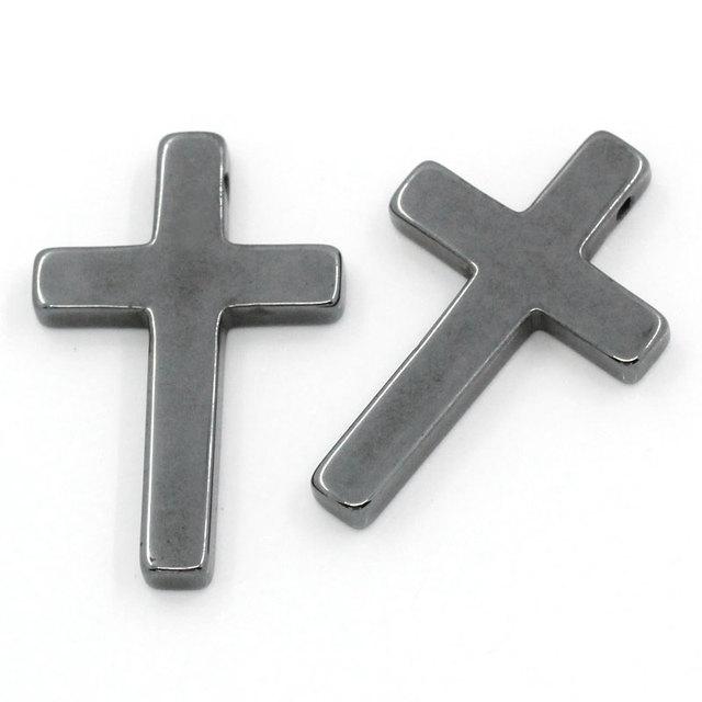 10 pièces Pendentifs Bronze Croix Religion Bijoux Hématite breloques à assembler soi-même 33x21mm