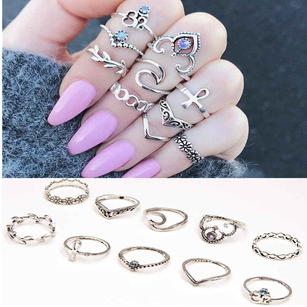 סט טבעת אצבע אבן בציר כתר סגול כסף עתיק טבעות Knuckle תכשיטים בוהמיים לנשים 10 יח'\חבילה 1376