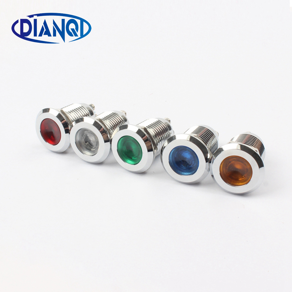 LED Metal Indicator Light Flat 12mm Waterproof Signal Lamp LIGHT 3V 6V 12V 24V 220V Screw Connect Red Yellow Blue 12ZSD.PY.L