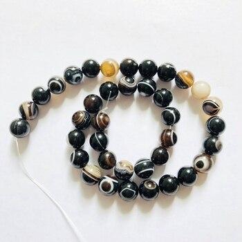 3ee88bf6f781 Ojo negro de Agat e cuentas negro bandas Agat e Onyx perlas 10mm redondo  gema grano de piedra de la joyería hace 1 cadena de 15