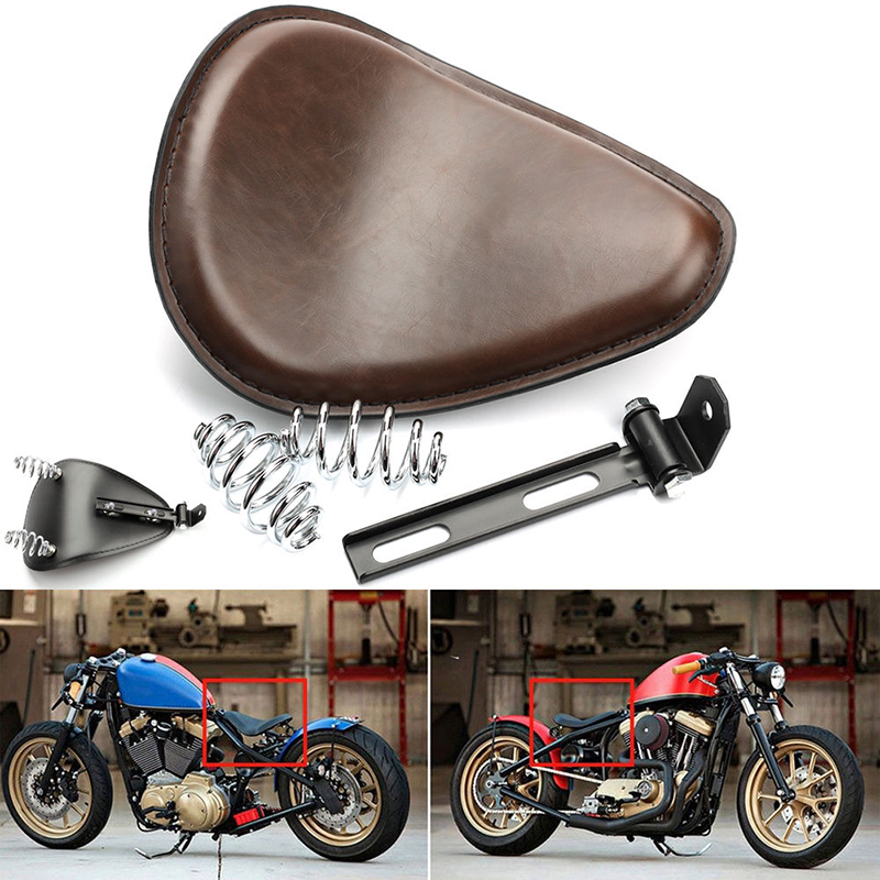 High Quality Brown Motorcycle Solo Seat 3 80mm Spring Bracket For Harley Chopper Bobber Honda Yamaha Kawasaki Suzuki motorcycle phone holder zipper pocket handlebar bracket mount universal for harley honda kawasaki yamaha cruiser chopper bobber