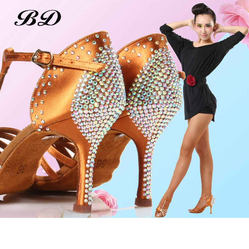 High Quality Dance Shoes Brand Party Ballroom Latin Shoe Girl Sports With Diamond Brown Dancing Discount