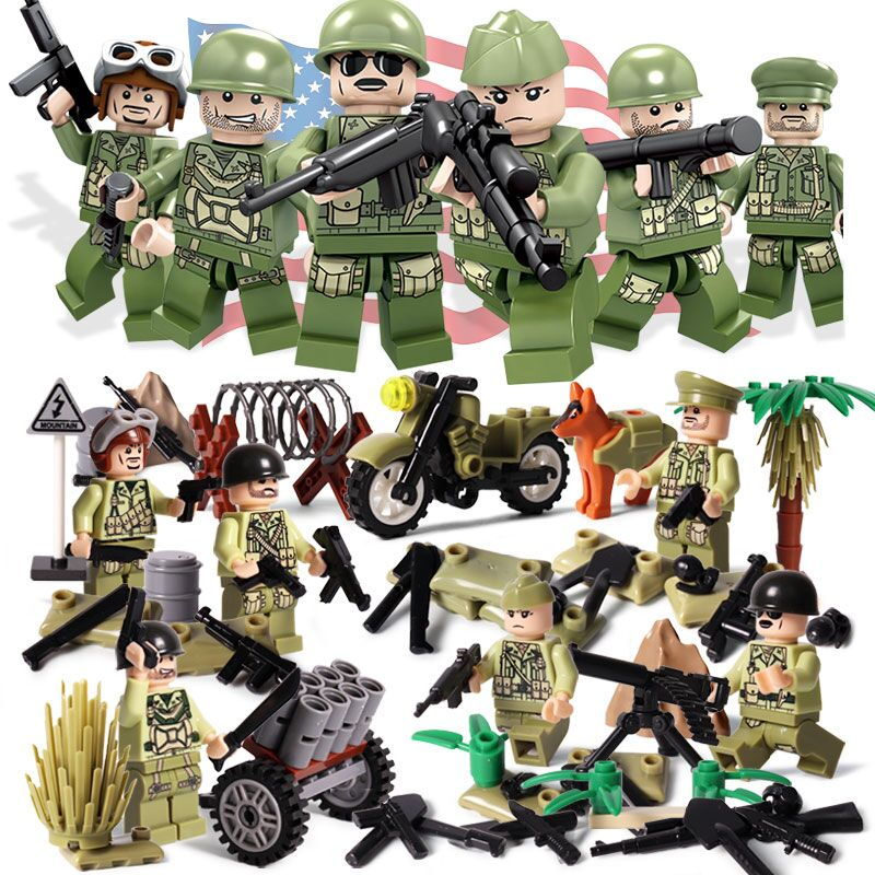 Oenux New World War 2 The Pacifice War Of Hacksaw Ridge US Army Military Building Block USA Soldier Figure DIY Brick Toy For Kid oenux world war 2 united state army air forces fighter p 47 thunderbolt aircraft vehicle model military building block brick toy
