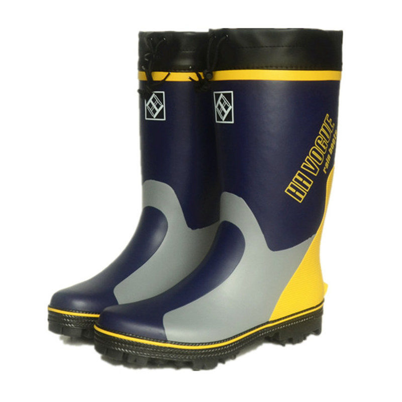Men Rain Boots Soles with Steel Nails Outsole Waterproof Non - Slip Fishing Boots Rubber with Reflective Strip Safety