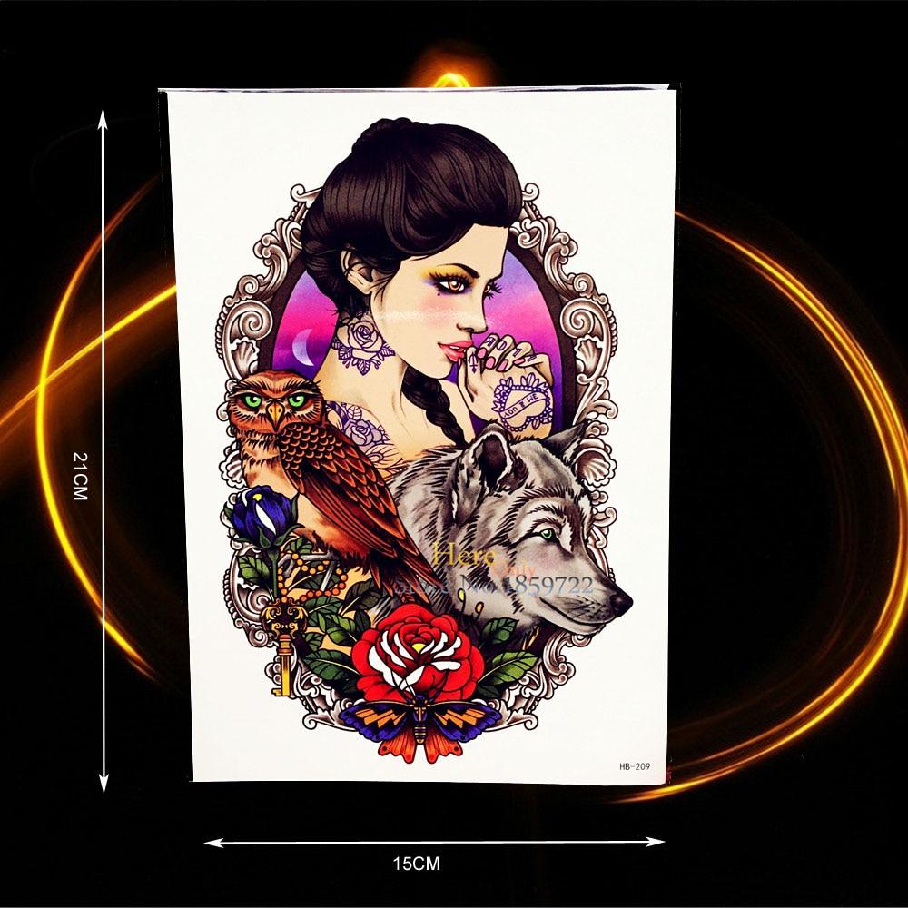 ᐊ1 unid búho Lobo patrón sexy mujeres tatuaje temporal impermeable ...