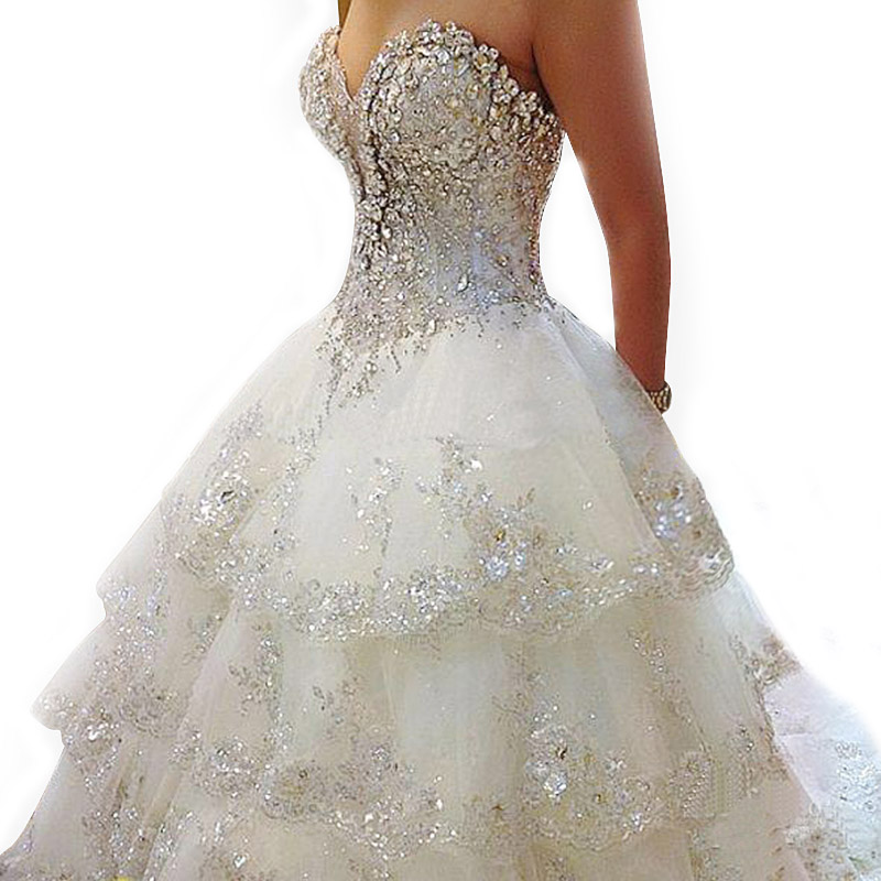 Jeweled Ball Gown Wedding Dresses: 2016 Luxury Ivory Rhinestone Beaded Appliques Sweetheart