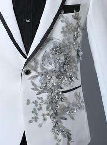 Image 3 - PYJTRL chaqueta con bordado de cristales 3D para hombre, chaqueta masculina de doble cara con bordado de cristales y flores para escenario y club nocturno