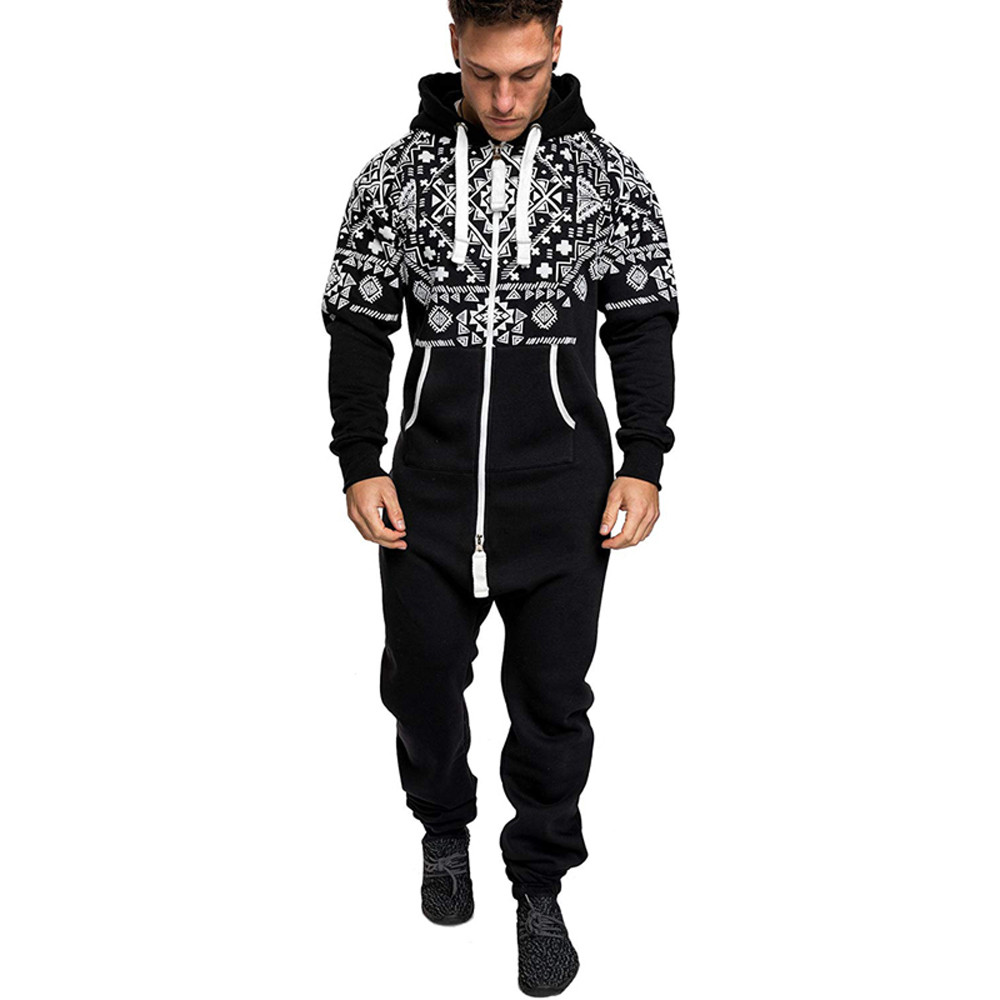 f0d8976b519 Men s Xmas Autumn Winter keep warm Casual Hoodie soft and comfortable Print  Christmas Zipper Print Jumpsuit