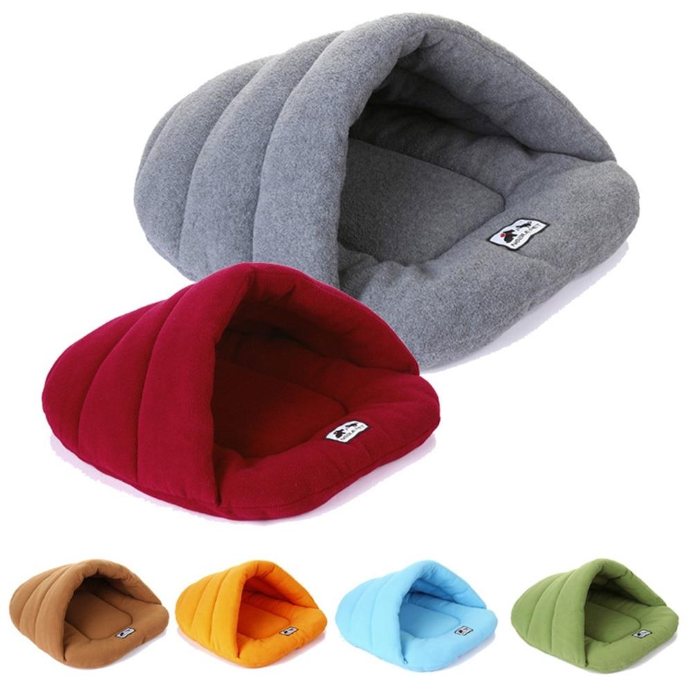 6 Farben Weiche Fleece Winter Warme Haustier Hund Bett 4 verschiedene größe Kleine Hund Katze Schlafsack Welpen Höhle Bett