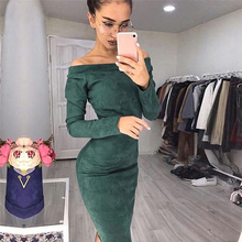 2019 Autumn Plus Size Women Bandage Dress Long Sleeve Sexy Slash Neck Slim Ladies Office Bodycon Party Dresses Vestidos XL